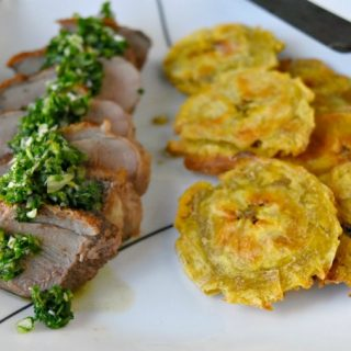 Chimichurri Crispy Duck with Baked Tostones