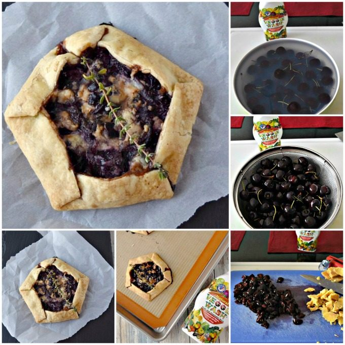 Cherry Stilton Crostata are packed with fresh cherry and thyme flavors that pair deliciously with the aged, crumbled Stilton cheese. Veggie Wash turns the cherries into intense bombs of sweet flavor that complement the sharp flavor of the Stilton. #VeggieWash