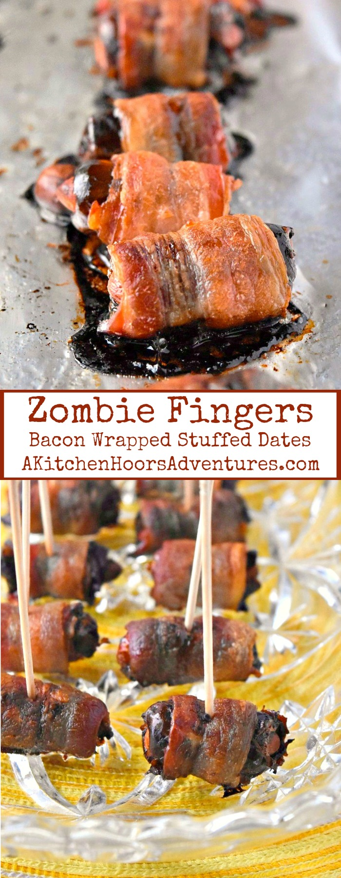 Zombie Fingers (aka Bacon Wrapped Almond Stuffed Dates) have the perfect combination of sweet, salty, savory, and crunch your guests will devour! SundaySupper