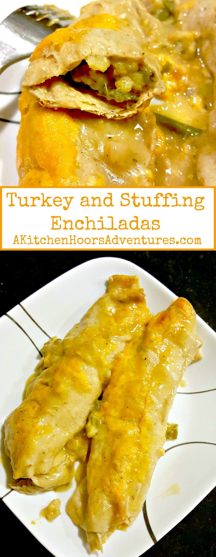 Re-purpose your holiday leftovers into these simple yet scrumptious enchiladas.  Turkey And Stuffing Enchiladas come together in a flash and have all the flavors of your holiday meal in a tasty enchilada.