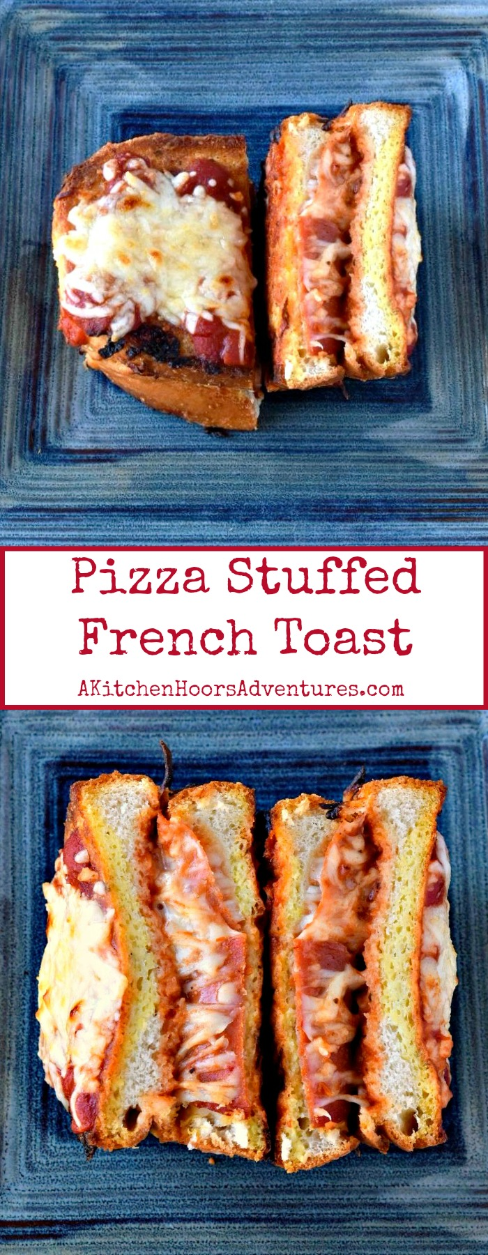 This is not your average French toast! Step outside the norm for once (or twice, or the bazillionthe time).  Pizza Stuffed French Toast is savory and delicious enough to serve for any meal.  Make it for breakfast and surprise your kids with pizza for breakfast!  Add a soup or salad and make it lunch or dinner.  Either way you serve it up, your family will love it! #FrenchToastDay #NationalFrenchToastDay #Pizzastuffed #frenchtoast #pepperoni #pizzaforbreakfast