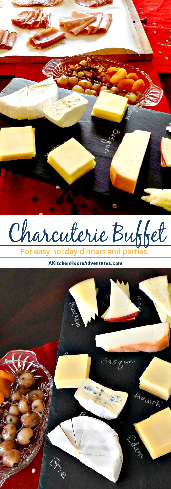 Buy small packages of many different meats and cheese for a buffet that is fabulous.  Charcuterie Buffet is easy to assemble and definitely something your guests will enjoy.