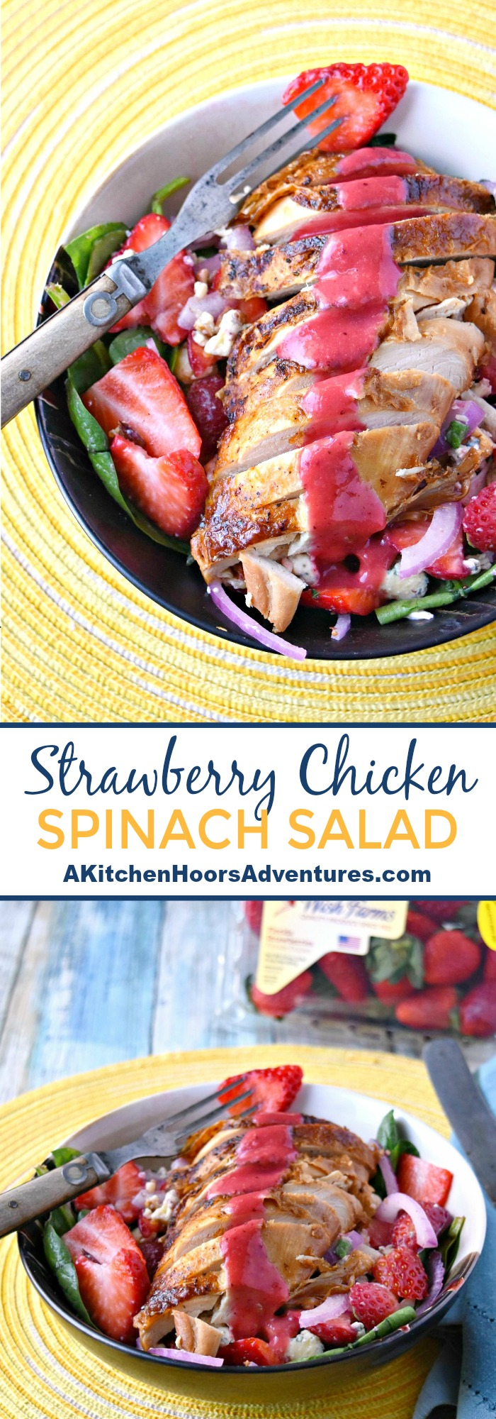 Using in season Florida strawberries, this Cobb Style Strawberry Chicken Salad is not only packed with strawberry flavor but it's a way to start the new year off right!  Not only are strawberries in the salad, but they're in the dressing, too! #FLStrawberry #SundaySupper #healthyrecipe #strawberrysalad
