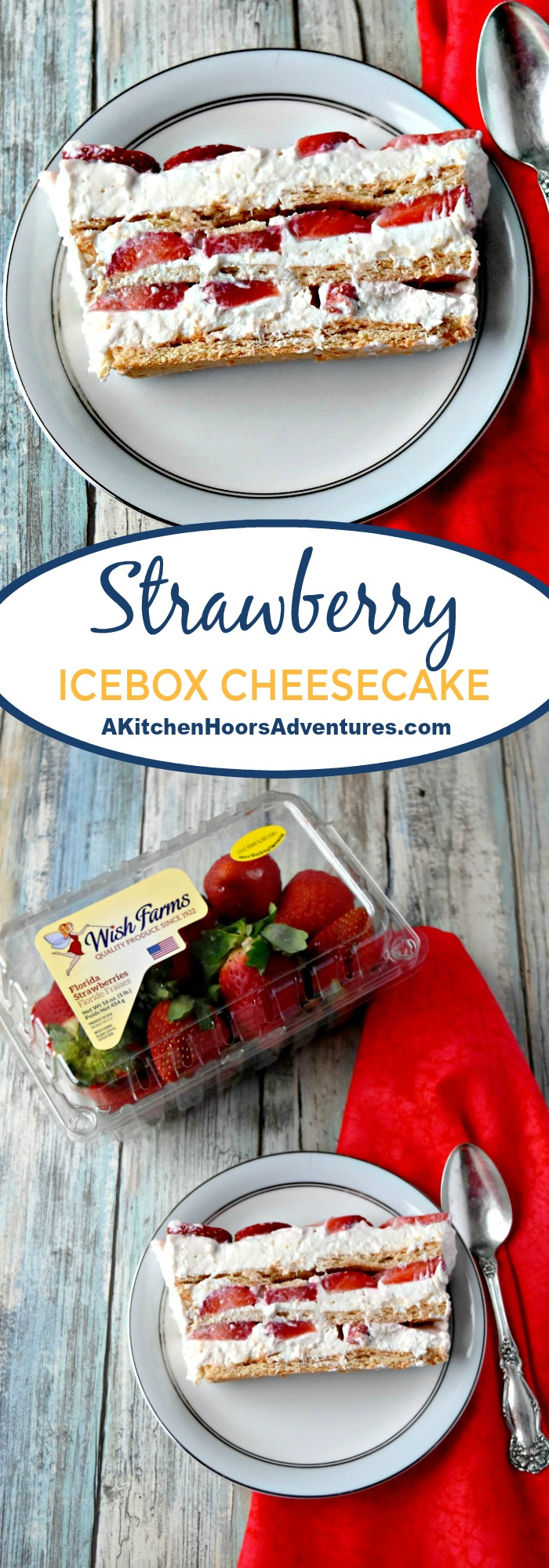 Strawberry Icebox Cheesecake has fresh, sweet strawberries, creamy cheesecake filling, and honey graham cracker layers.  It's the perfect way to showcase in season, Florida strawberries in a simply delicious dessert your family will love. It's a new comfort food to get you through winter! #SundaySupper