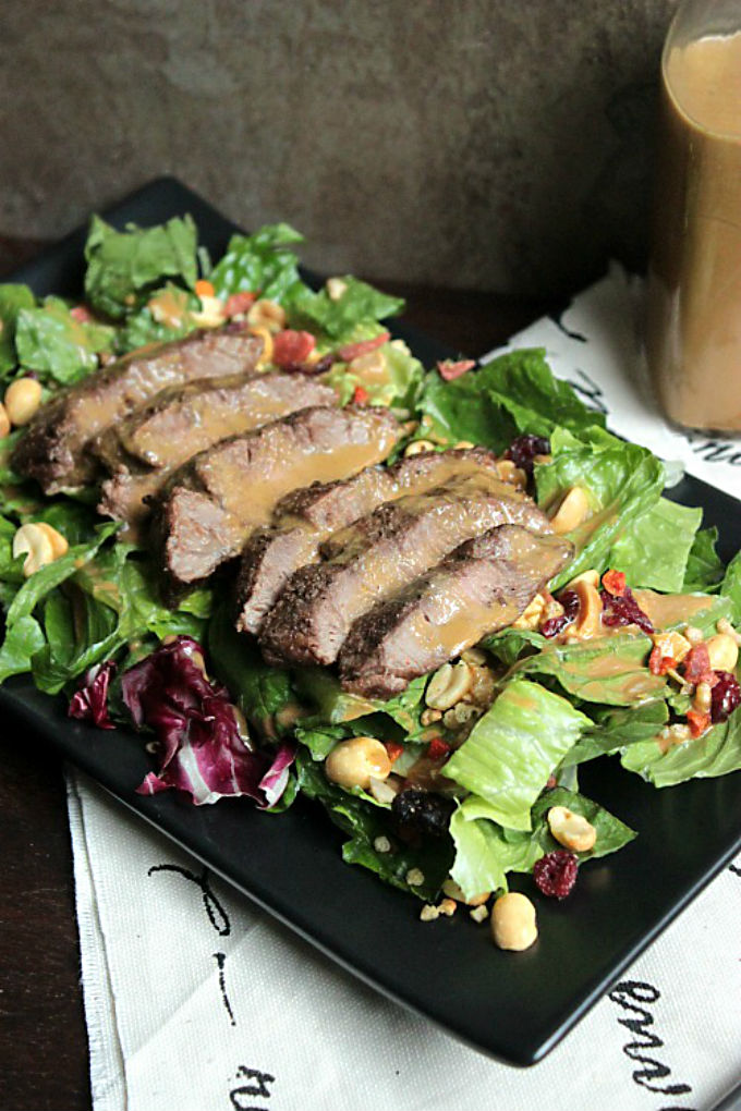 Flat Iron Steak Salad with Homemade Steak Sauce Dressing