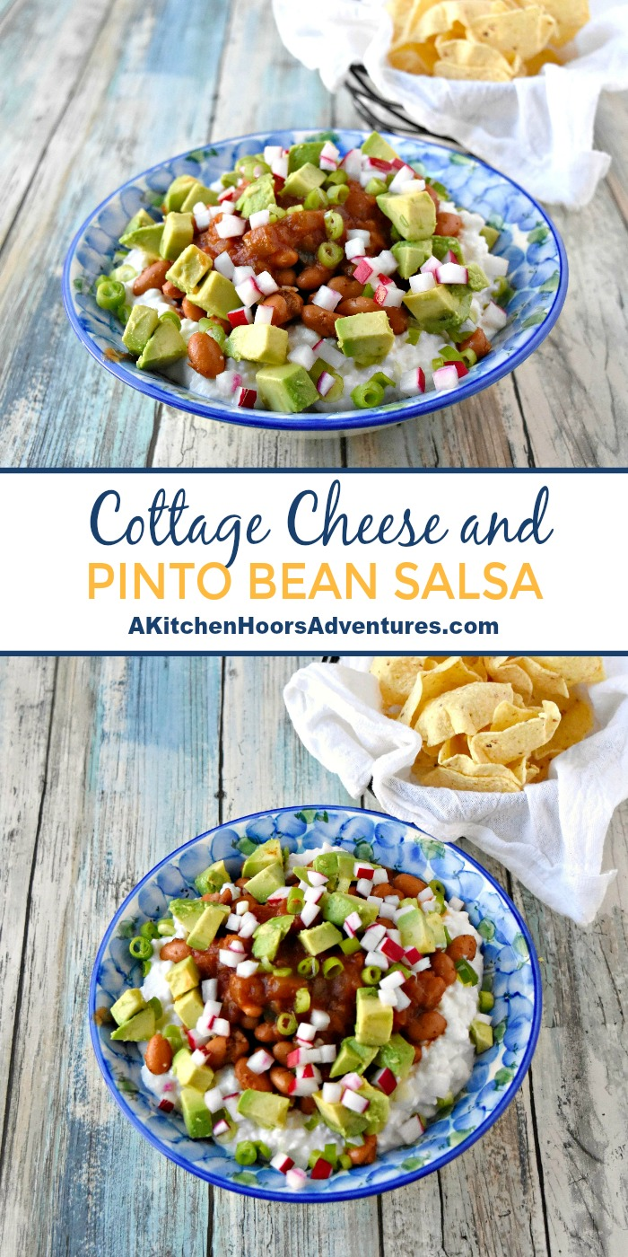 Cottage Cheese and Pinto Bean Salsa is inspired by A Dish of Daily Life's Cottage Cheese Salsa with Black Beans.  It's cool and creamy salsa that will surprise and delight your family and guests.