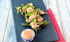 Asparagus and Shrimp Kabobs with Spicy Bang Bang Sauce