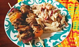 Chicken Souvlaki Kabobs with Cucumber Feta Pasta Salad
