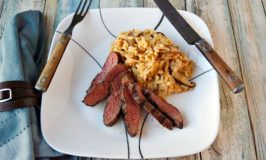 Grilled Ostrich Loin with Easy Risotto