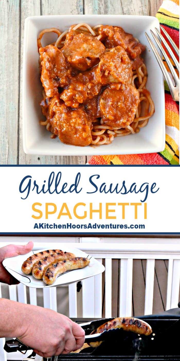 Grilled garlic Parmesan sausages are simmered a few minutes in marinara for a different twice on a classic meal. Grilled Sausage Spaghetti has a slightly smoky flavor that makes this twist on a classic DE-licious!