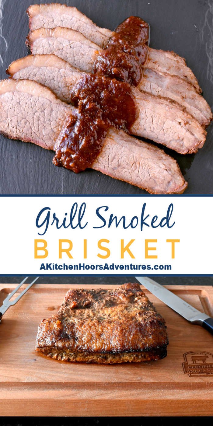 I'm here to tell you you CAN smoke a Certified Angus Beef ® brand brisket on your grill!  I smoked mine on my gas grill.  GAS GRILL people!  With some time, love, and patience this Grill Smoked Brisket is tender, moist, and super delicious with hickory and applewood flavors.