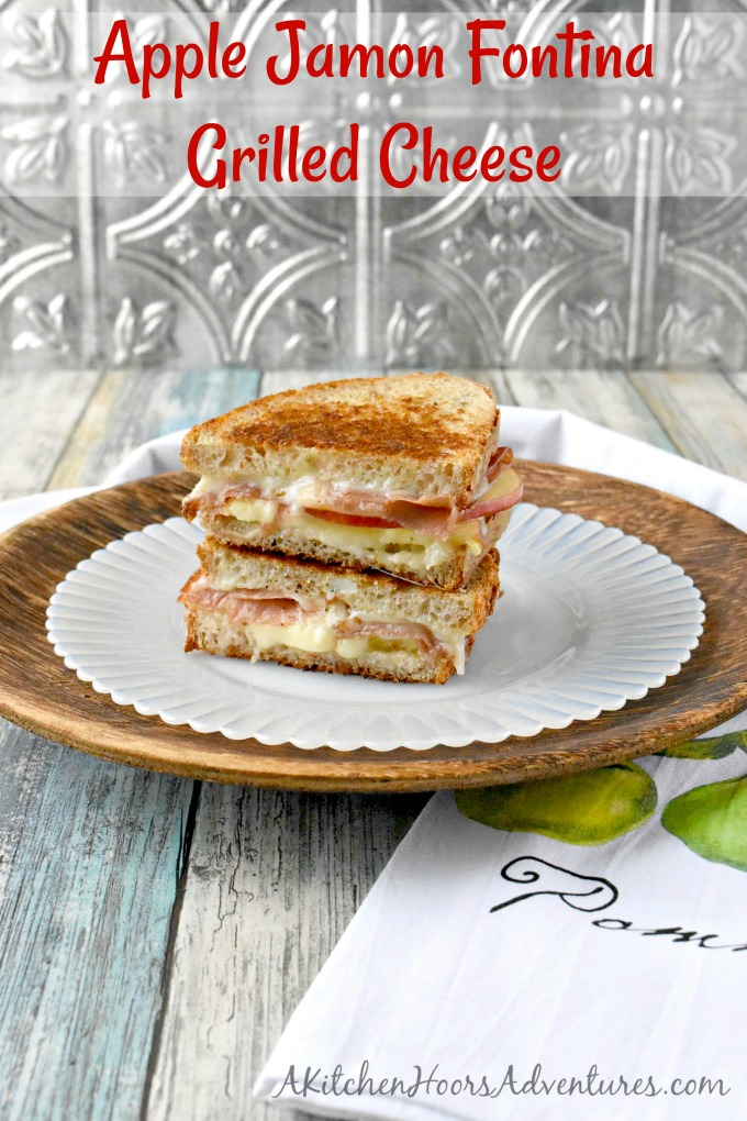 Apple Jamon Fontina Grilled Cheese are a sweet and savory sandwich everyone will devour!  The sweet apples, the salty jamon, and the creamy Fontina all come together in this decadently delicious grilled cheese sandwich.  They're easily grilled up on the Swiss Diamond, two burner griddle.