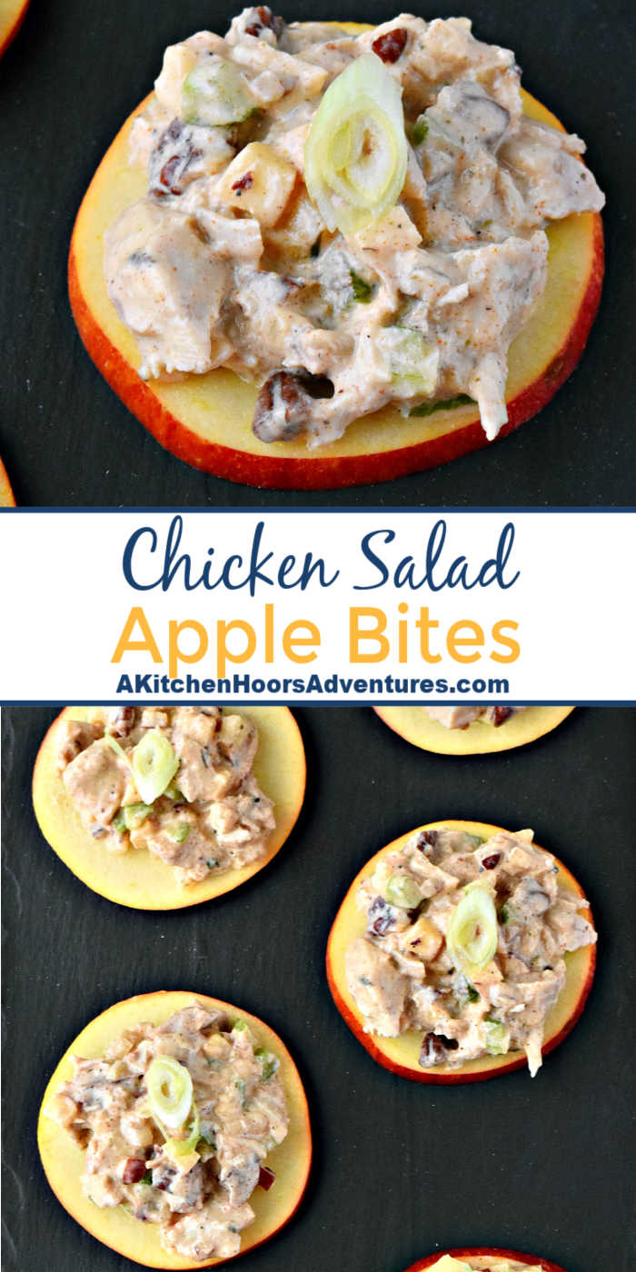 Savory and sweet chicken salad sits on top of apple slices for a delicious and quick appetizer.  Chicken Salad Apple Bites are a perfect afternoon snack, easy appetizer, or quick nibble before dinner.