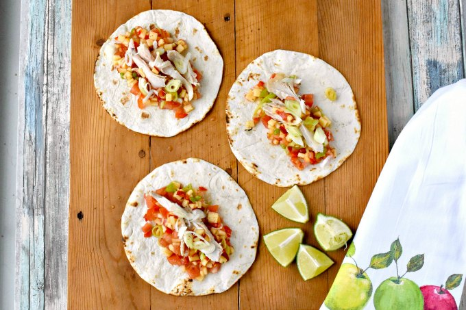 Sweet and spicy apple salsa is the star in these Cheddar Chicken Tacos with Apple Salsa.  You can grill chicken or use leftover roasted chicken for the tacos but make sure you get a SHARP Cheddar cheese to complement the sweet and spicy salsa.