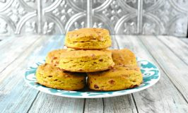 With a hint of pumpkin flavor and packed with cheddar, Pumpkin Cheddar Biscuits are perfect for breakfast or topped with a savory red pepper dip for an afternoon nibble. #PumpkinWeek