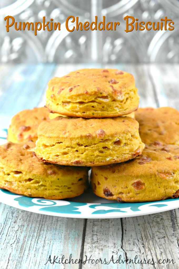 With a hint of pumpkin flavor and packed with cheddar, Pumpkin Cheddar Biscuits are perfect for breakfast or topped with a savory red pepper dip for an afternoon nibble.
