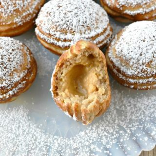 Ebelskiver are filled pancakes cooked in a pan make specifically for them. Pumpkin Cheesecake Ebelskiver are filled with creamy, pumpkin cheesecake filling surrounded by a simple, sweet batter for a little bite of pumpkin goodness.