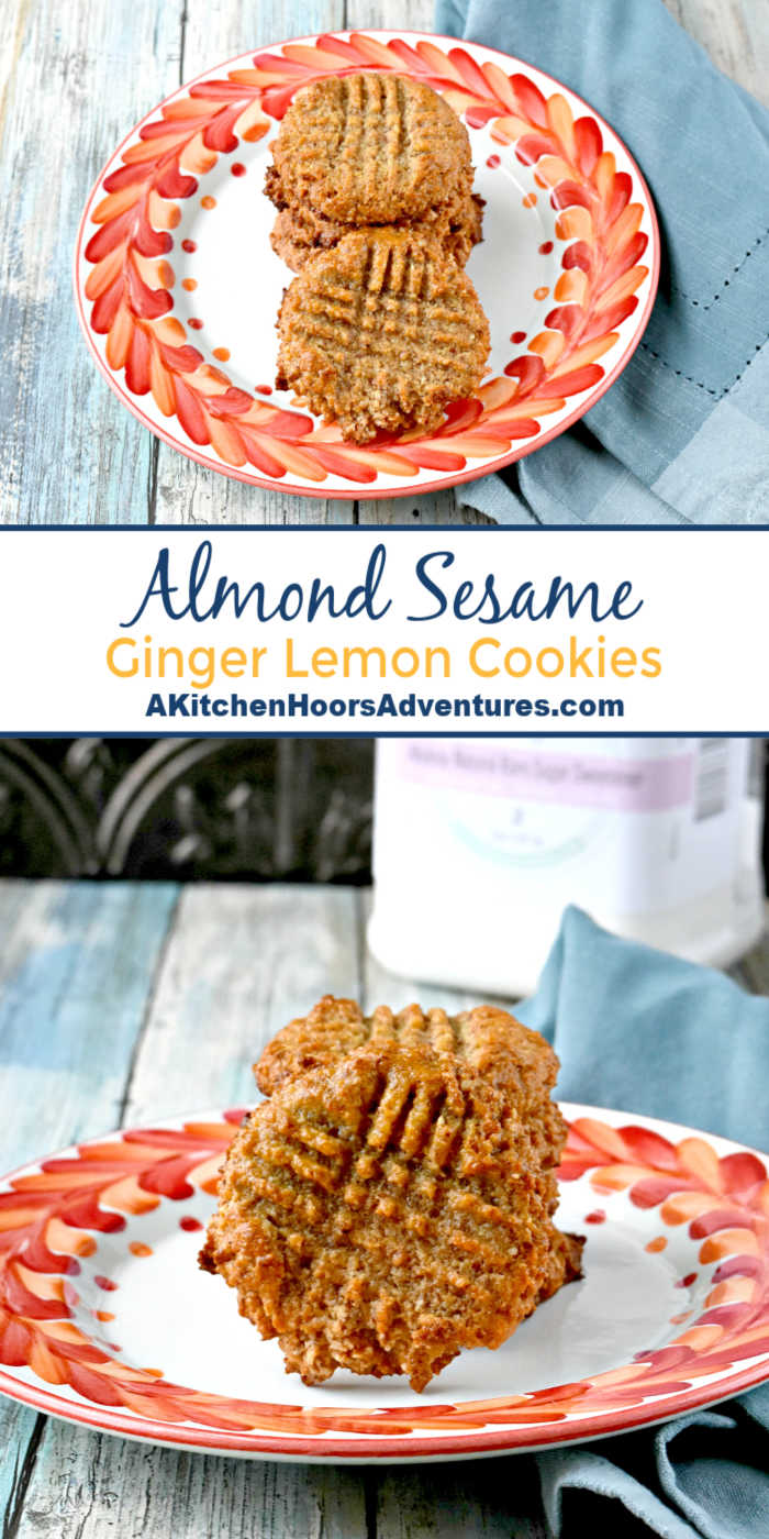 Tahini is combined with ginger, lemon extract, and almond meal in these flavorful, keto cookies.  Almond Sesame Ginger Lemon Cookies are packed with almond and lemon flavor with a hint of sesame and ginger flavor.