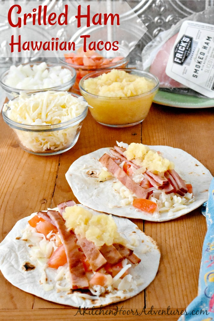 It takes longer to chop the toppings than it does to grill the ham. That's why you and your family will love these Grilled Ham Hawaiian Tacos. They're perfect for busy weeknights and fun for the family! #fricks #smokedmeats #itsfrickingood