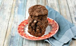 As if the fudge-y goodness in these cookies wasn't enough, I added three - count 'em THREE - types of chips to these cookies. Triple Chip Cookies have semi-sweet chocolate, white chocolate, and peanut butter chips in these monster cookies. #Choctoberfest
