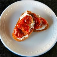 Pan Roasted Saffron Tomato Crostini with Labneh