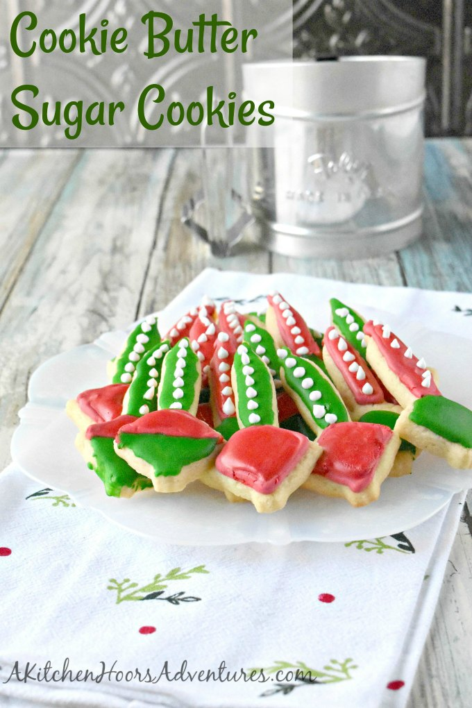 A simple sugar cookie recipe turns into a fun and festive cookie with this nostalgic cookie cutter.  Bubble Light Sugar Cookies boasts delicious holiday flavor with a little cookie butter flavor added to the dough.