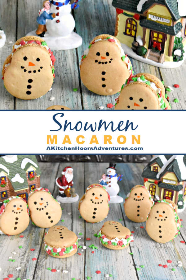 Coconut in shells and almond extract in the buttercream make these Snowmen Macaron taste like an almond joy!  It wouldn't be a blogging event if I didn't make my favorite cookie.  #ChristmasSweetsWeek #ad