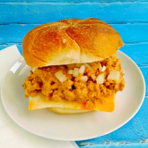 Extra lean ground chicken is simmered with a delicious burger flavored sauce in these Chicken Cheeseburger Sloppy Joes. Not only do they taste like a diner burger, but they're quick, easy and a delicious weeknight meal kids of all ages will enjoy.