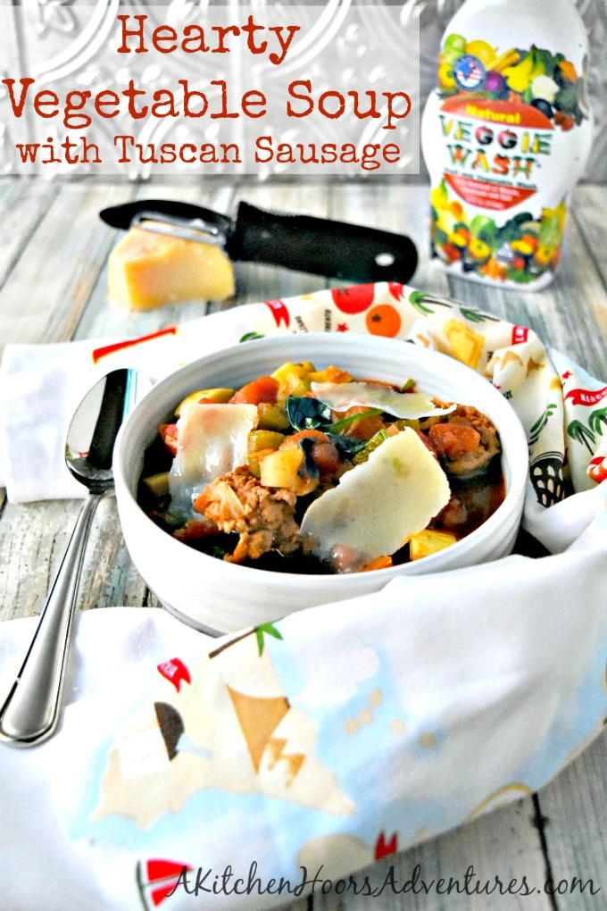 Parmesan broth makes this Hearty Vegetable Soup with Tuscan Sausage rich and amazingly delicious.  It tastes so amazing you will lick the bowl clean.