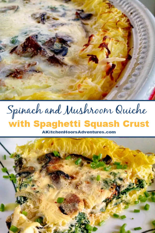 Using spaghetti squash as the crust makes a delicious and low-carb meal. The texture and flavor of the squash enhances the spinach and mushroom flavors in this Spinach and Mushroom Quiche with Spaghetti Squash Crust.