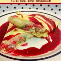 Paleo Crab Crepes with Parsnip Puree and Beet Reduction