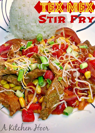 A mashup of Tex-Mex flavors combined with the quick and easy stir-fry style of Asian cuisine.  This Tex Mex Stir Fry is hubby approved and I'm sure it will be kid approved with your family, too!