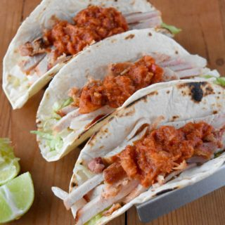 Applewood Bacon Loin Filet is spit roasted in the air fryer before slicing and serving in these Applewood Bacon al Pastor Style Tacos. They're topped with a simple al pastor style sauce that makes them scrumptious!