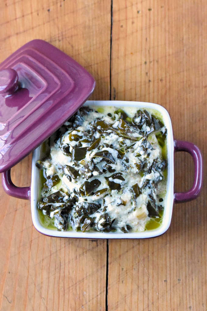 Collard greens gets a make over with this creamy and delicious side dish!  Creamed Collard Greens are just as delicious as their spinach counter parts.  They come together quickly and taste rich and delicious!  It's a great way to get your family to eat their greens!
