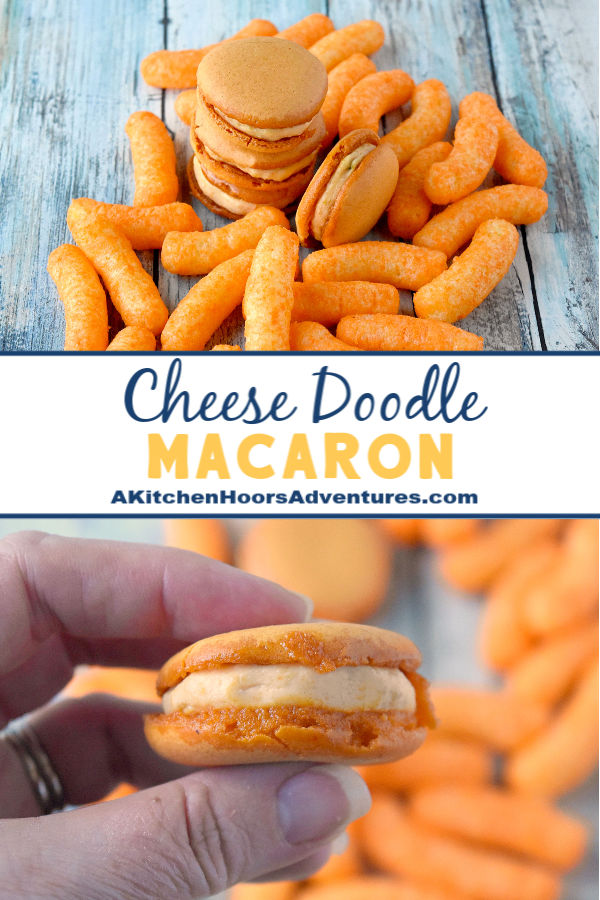 Cheese Doodle Macaron have cheese doodles in the shells and pimento cheese in the middle. Yes. I took cheese doodles and put them into a macaron. And yes, the shells taste like cheese doodles.