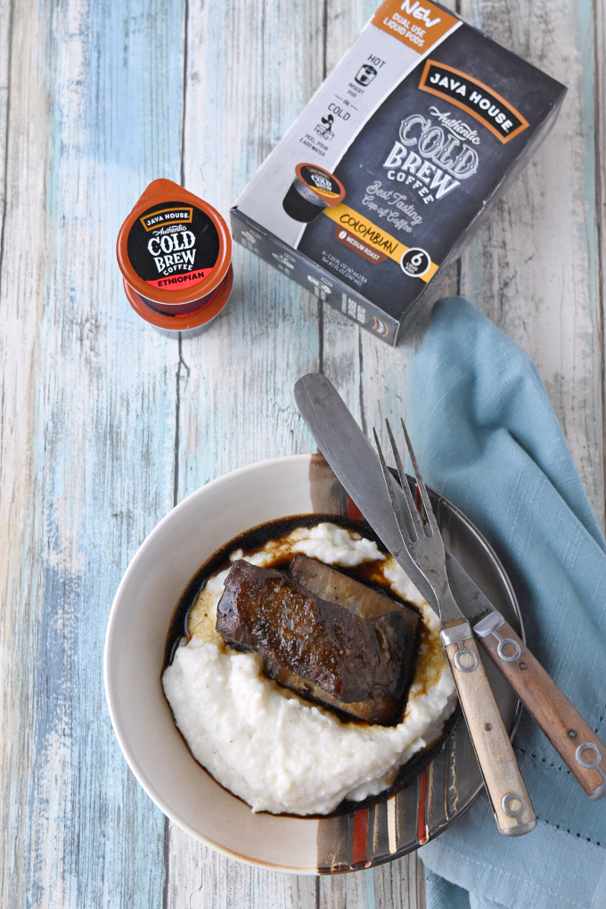 Braised using Java House Cold Brew liquid pods, these Coffee Braised Short Ribs can be made any time! The braising liquid is reduced into a fancy red-eye style gravy.  #javahouse #javahousecoldbrew