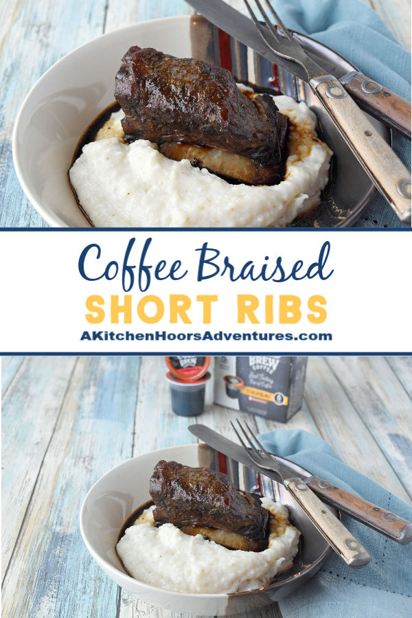 Braised in Java House Cold Brew coffee pods, these Coffee Braised Short Ribs can be made any time! You don't need to brew any coffee or have any leftover. The braising liquid is reduced into a fancy red-eye style gravy.