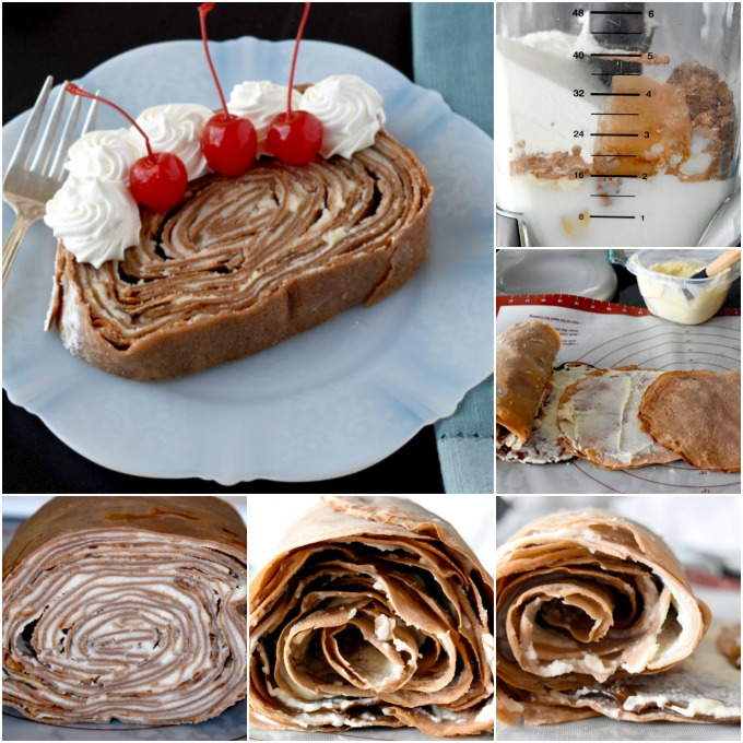 Take your traditional crepe cake and turn it on its side! Chocolate Crepe Cake Roll is a fun and different twist on both a cake roll and a crepe cake. #SpringSweetsWeek