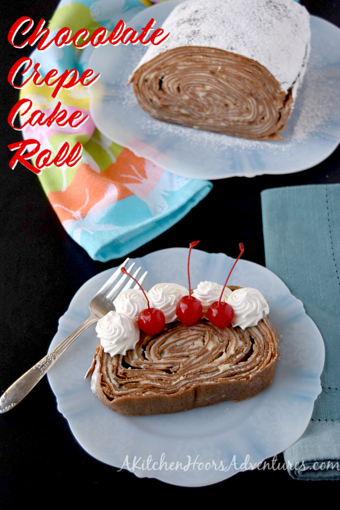 Take your traditional crepe cake and turn it on its side! Chocolate Crepe Cake Roll is a fun and different twist on both a cake roll and a crepe cake.