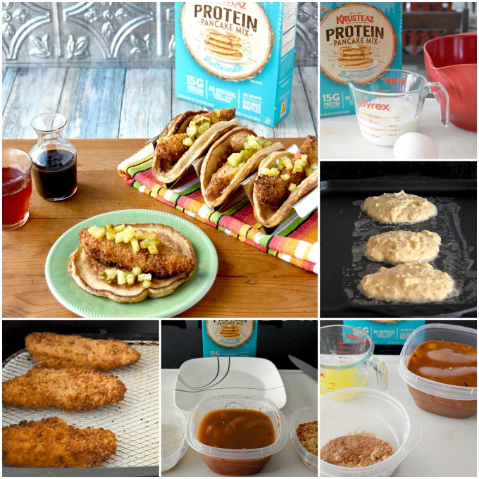 A twist on chicken and waffles, Hot Chicken and Pancake Tacos are spicy, sweet, and completely scrumptious! The pancake tacos are fluffy, slightly sweet, and made with Krusteaz Buttermilk Protein Pancake mix. #Krusteaz #ad