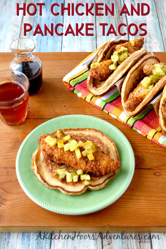 A twist on chicken and waffles, Hot Chicken and Pancake Tacos are spicy, sweet, and completely scrumptious! The pancake tacos are fluffy, slightly sweet, and made with Krusteaz Buttermilk Protein Pancake mix.