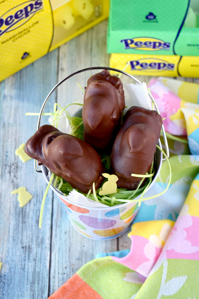 PB&J PEEPomars start with a caramelized cookie bottom, then salty peanut butter, and finally the fluffy PEEP on top all wrapped in chocolate.  Yes, they are addictive!  Thank you for asking.  Don't say I didn't warn you. #SpringSweetsWeek