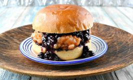 Thai Red Curry Shrimp Burger with Blueberry Chutney