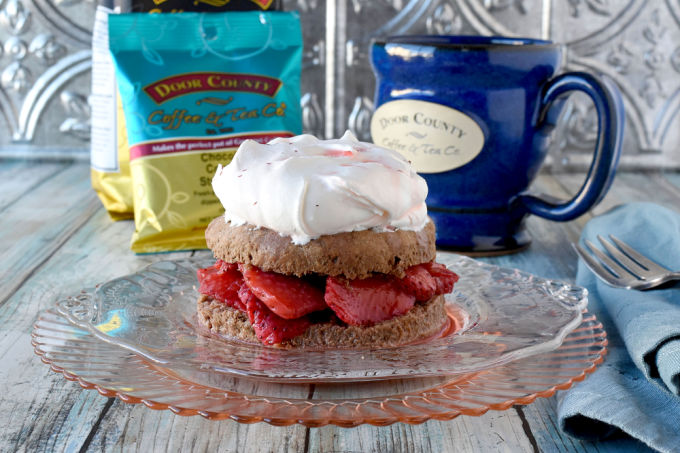 Chocolate Strawberry Shortcake is the perfect dessert to pair with Door County Chocolate Covered Strawberry coffee.  The chocolate shortcakes are tender and delicious topped with macerated strawberries and sweet whipped cream.  Summer on a plate! #ad #DoorCountyCoffee @DoorCountyCoffee @TasteofHome