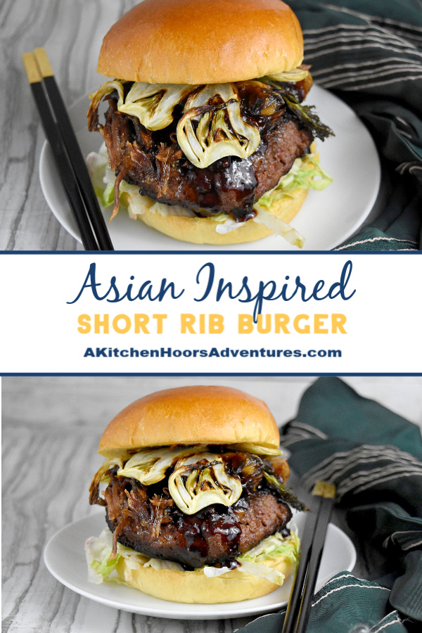 Asian Inspired Short Rib Burger has soy, ginger, sesame oil, and hoisin sauce. It's topped with braised short ribs marinated with lemongrass, garlic, ginger, and soy sauce and crispy fennel chips. It's packs mouthful after delicious mouthful of flavor.