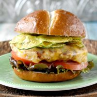 Apple Cheddar Chicken Burgers with Squash Chips