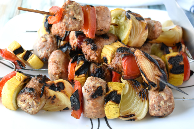 Grilled Italian Sausage Kabobs are like a sausage hoagie without the bun, the sauce, and the cheese.  Okay so it's really not like a sausage hoagie, but they're super delicious anyway! #BBQWeek
