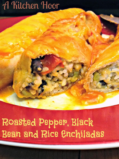 The hubs said these were the best enchiladas I've made so far.  Roasted Pepper, Black Bean, and Rice Enchiladas, are creamy, packed with flavor, and super delicious.