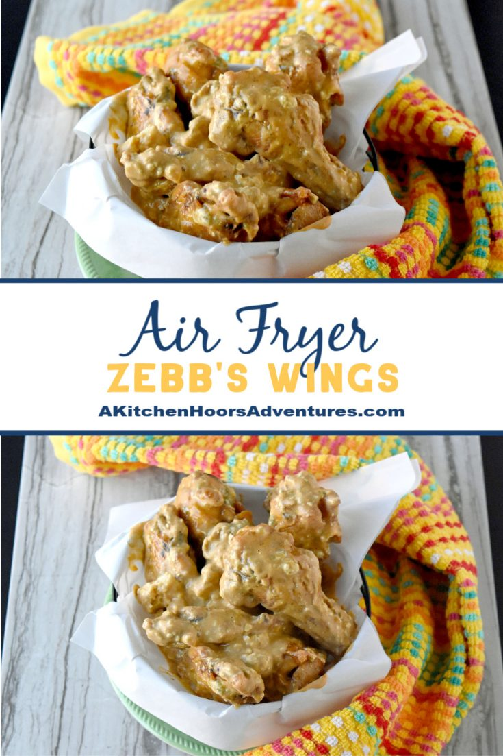 Going back to college with these Air Fryer Zebb's Wings.  With a mix of ranch, Buffalo sauce, and crumbled blue these, these wings are packed with flavors.