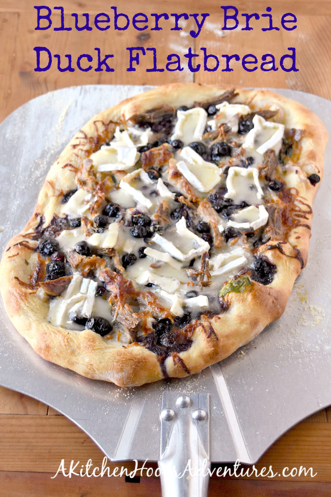 Blueberry Brie Duck Flatbread has ALL the flavors! From rich roast duck to sweet blueberries and creamy brie, it's an appetizer or light dinner your family will DEVOUR! #BlueberryWeek